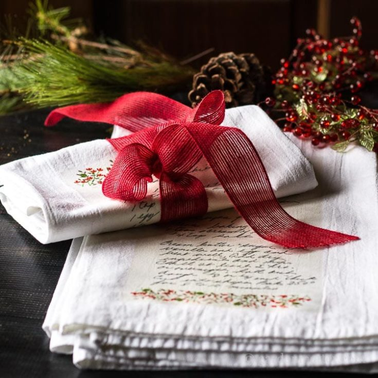 Handwritten Family Recipe Tea Towel Gift