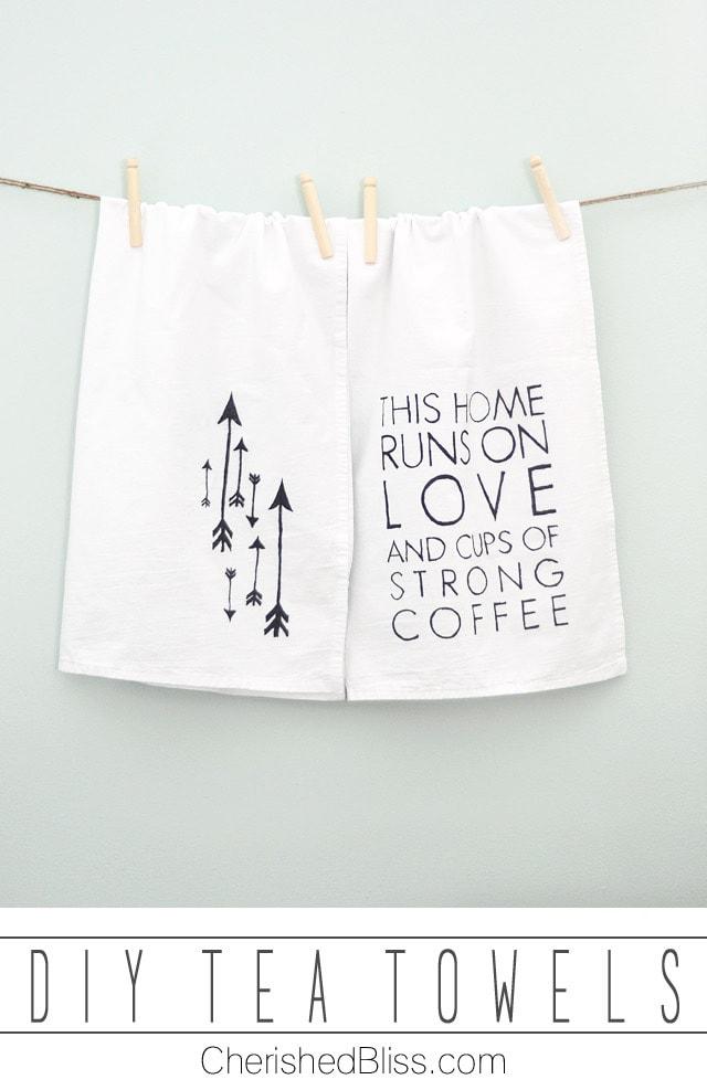 DIY Tea Towels {Love & Coffee} - Cherished Bliss