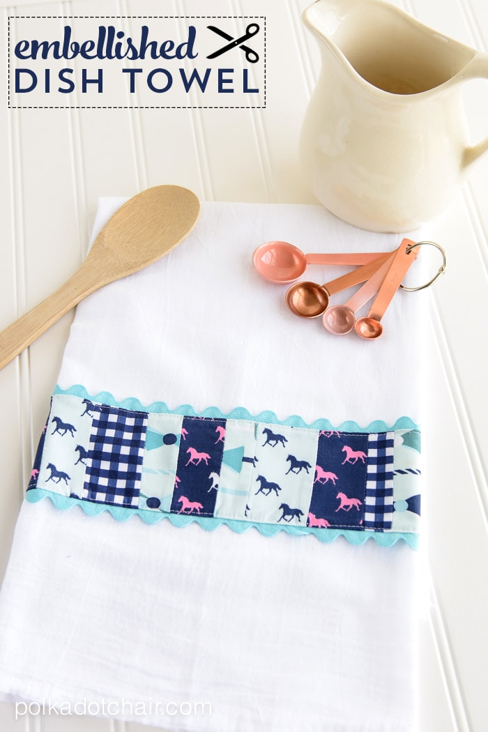 Embellished Dish Towel Tutorial on polkadotchair.com