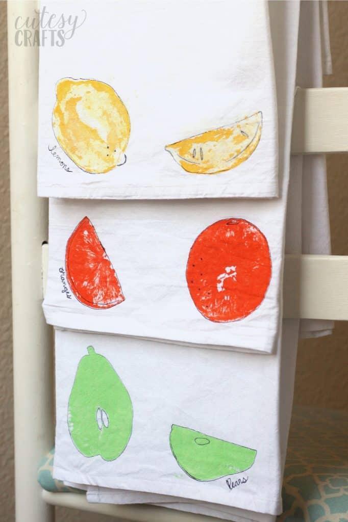 EASY and Fun Fruit Stamping on Tea Towels
