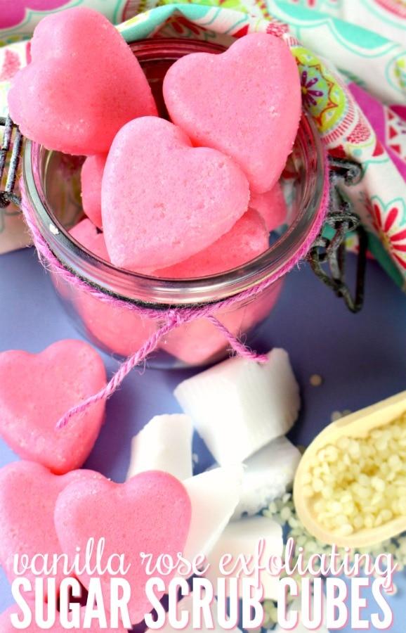 Vanilla Rose Exfoliating Sugar Scrub Cubes