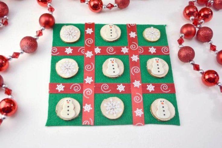 DIY Christmas Tic Tac Toe Board Game Craft