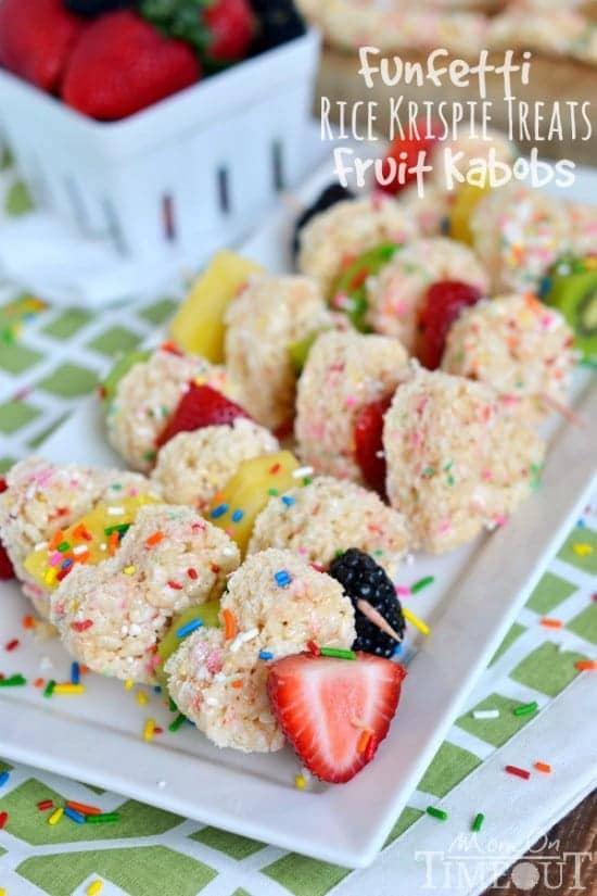 Funfetti Rice Krispies Treats Fruit Kabobs