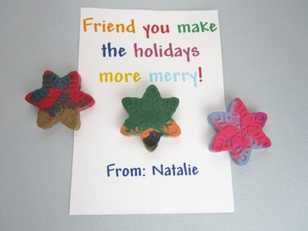 """Friend you make the holidays more merry"" Card with Snowflake Crayon"