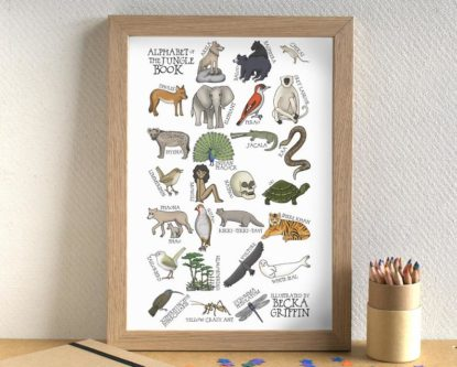 Alphabet print jungle book characters wall art
