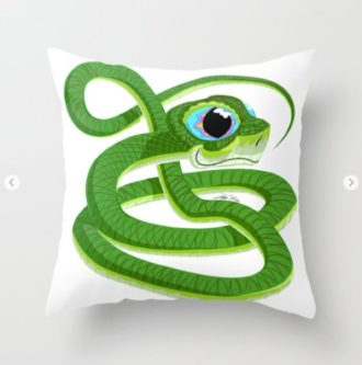 Cute Green Snake Pillow