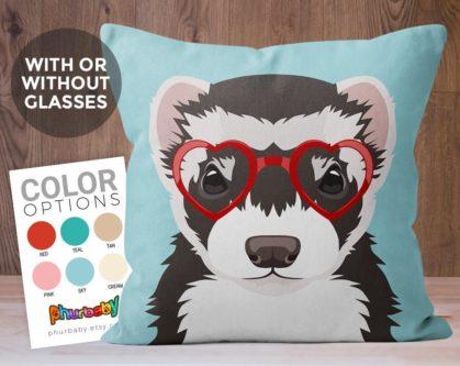 Ferret pillow character design gift for ferret lovers