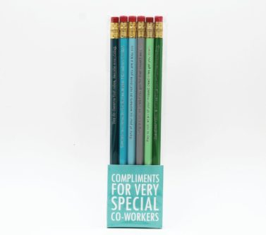 Funny set of compliment pencils coworker gift