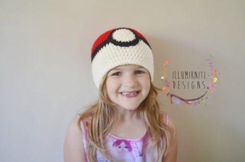 Knit Pokeball Hat