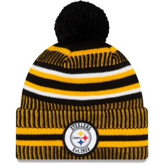 Knit black and yellow steelers winter hat