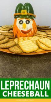 St. Patrick's Day Leprechaun Cheeseball   Party Cheese Ball   St. Patrick's Day Food   Party Food   Creative Entertaining Food Ideas   #food #recipes #cheeseball #stpatricksday #leprechaun #uniquegifter