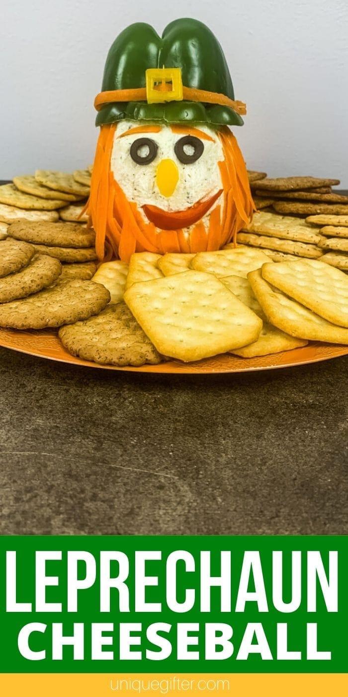 St. Patrick's Day Leprechaun Cheeseball | Party Cheese Ball | St. Patrick's Day Food | Party Food | Creative Entertaining Food Ideas | #food #recipes #cheeseball #stpatricksday #leprechaun #uniquegifter