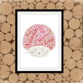 Mario Mushroom Word Art