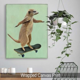 Meerkat On A Skateboard Print
