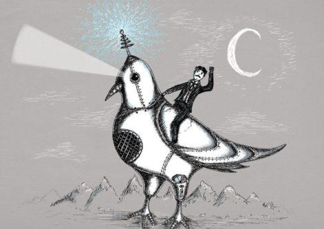 Nikola Tesla Riding A Pigeon Print
