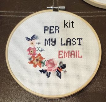 as per my last email cross stitch kit