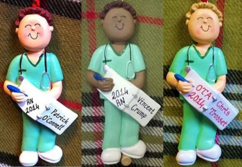 Personalized Christmas Ornament Male Nurse