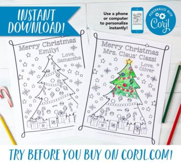 Personalized Christmas Tree Coloring Sheet Printable