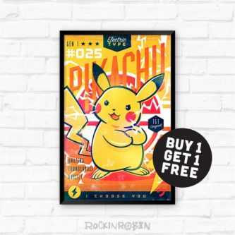 Pikachu Retro Art Poster
