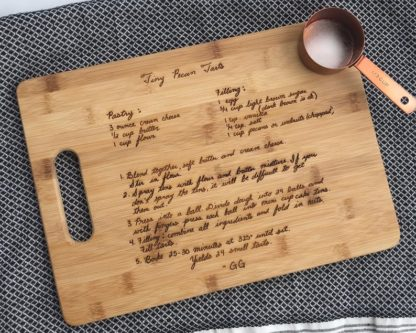 cutting board customized with his favorite recipe cooking themed anniversary gift
