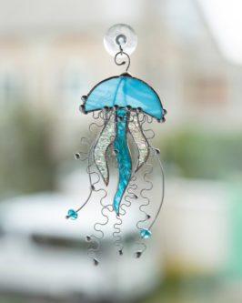 Stained Glass Jellyfish Suncatcher