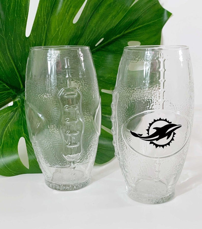 Miami dolphins football shaped beer glasses