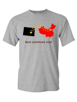 """""""Best commute ever"""" State to China with Dino Shirt"""