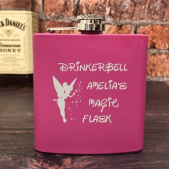"""Drinkerbell"" Personalized Magic Hip Flask"
