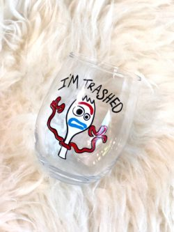 """I'm Trashed"" Forky Wine Glass"
