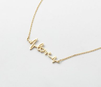 """14K Gold Fill """"Love"""" Heartbeat Necklace"""