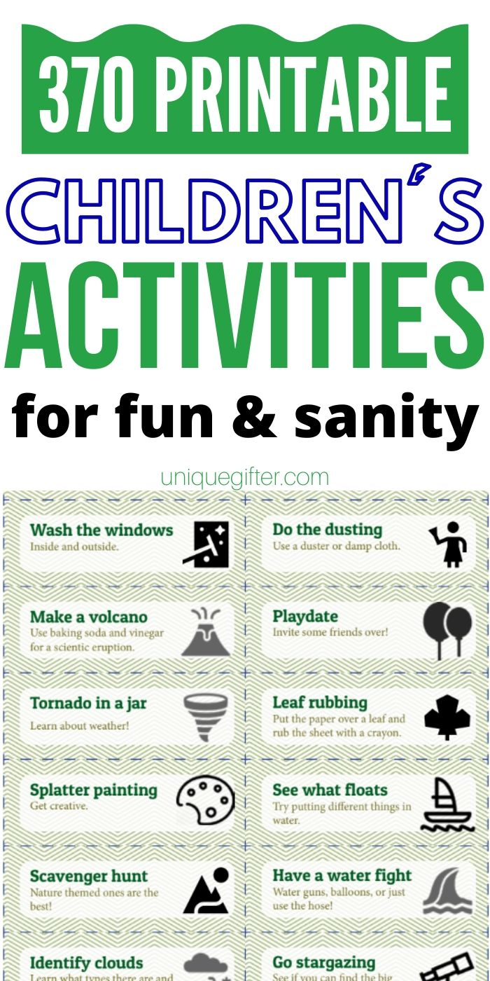 Fun indoor and outdoor kid's activity jar ideas to entertain children with activities. Free or very few supply ideas that don't involve many screens. Use these boredom busters to get your kids engaged and doing fun things. Includes STEM ideas, imaginary play and more. Play at home now with this printable of 370 games. PERFECT for kids ages 3-11. #kidsactivities #fungames
