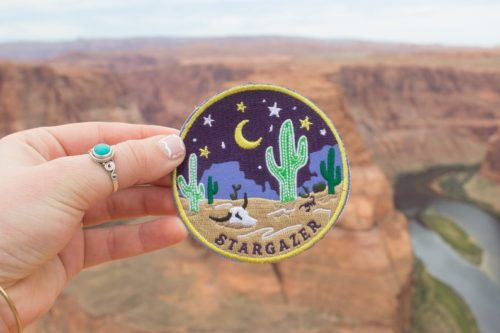 indie star gazer dessert themed patch accessory