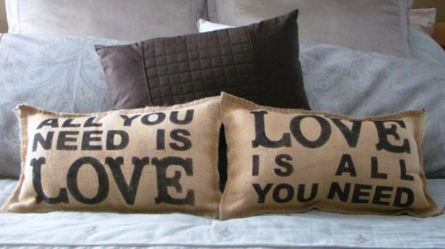 All you Need is Love Burlap Pillows