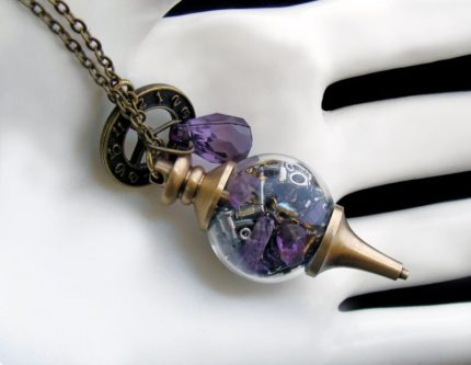 amythest pendatn glass necklae with copper chain fashion design