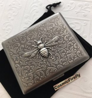 antique silver bee cigarette case for steampunk lovers gift idea