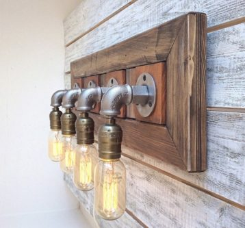 Bathroom vinyl fixtures with pipeing and lightbulbs