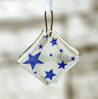 Blue Glass Stars Ornament