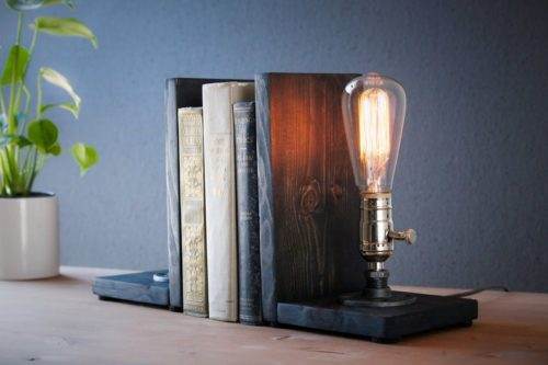 bookend lamp edison bulb gift for steampunk lovers