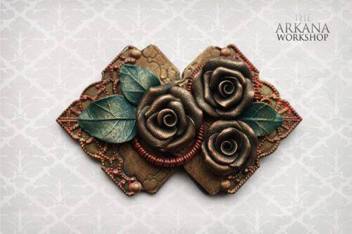 Bronze rose broach copper rose accessory gift idea