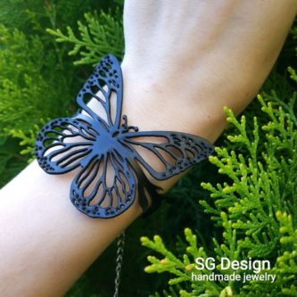 Customized butterfly bracelet 3rd leather anniversary gifts for her