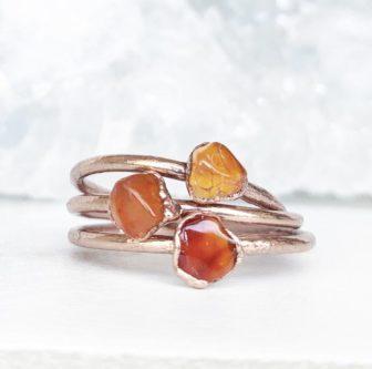Dainty Carnelian Crystal Ring
