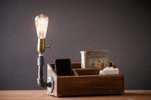 Desk organizer with built in steampunk lamp