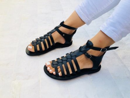 gladiator roman style leather sandals