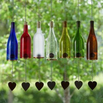 Glass Wine Bottle Wind Chimes