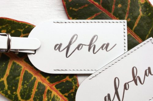 Hawaii aloha leather tags travel baggage tags
