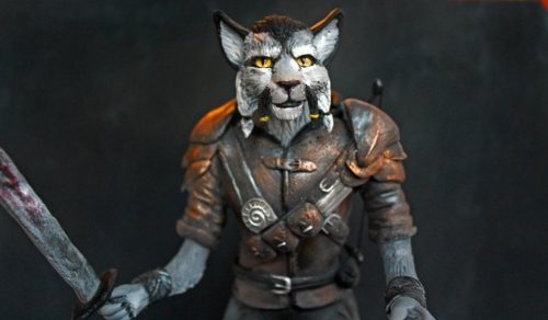 Kahjit warrior cat person statue form Skyrim