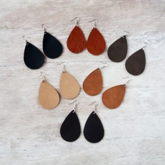 Leather drop earrings in different colors