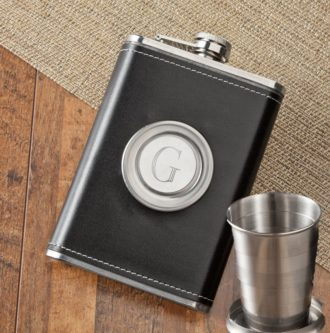 Leather Flask With Folding Shot Glass