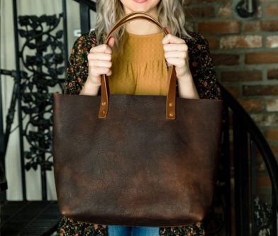 Leather tote bag rustic accessory for wifes anniversary