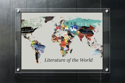 world map of literature fiction lover gift idea